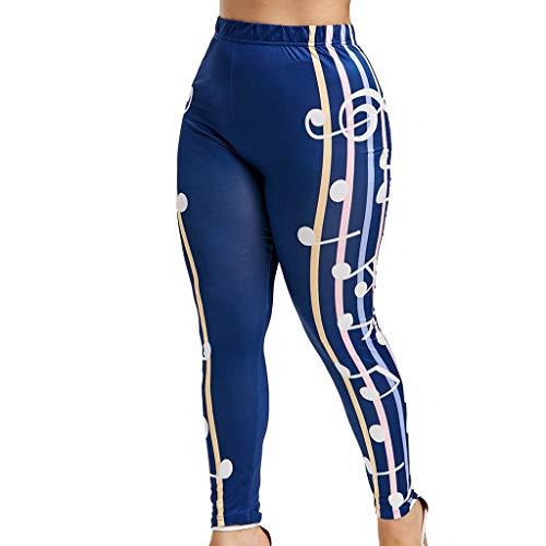 MOTOCO Damen Leggings Lässige High Waist Elastic Note Print Athletic Sport Fitness Workout Yoga Pants Hosen für Damen(2XL,Blau)