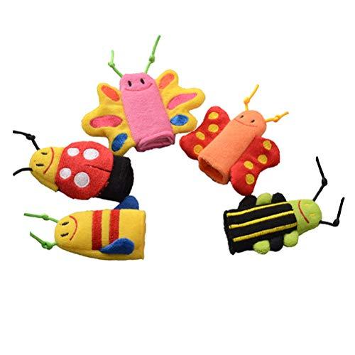 STOBOK Tier Fingerpuppen Klein Handpuppe Set Puppen Spielzeug für Baby Kinder Zufälliger Stil 5 Stücke