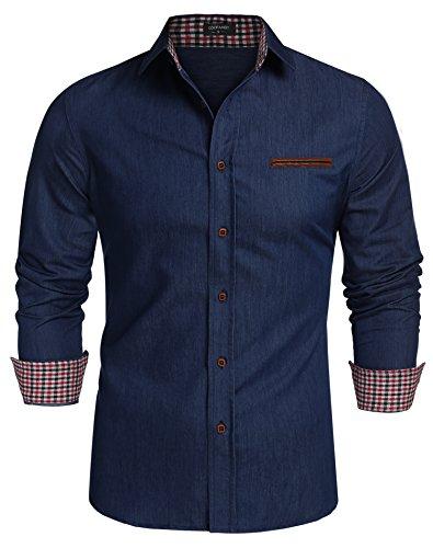 Coofandy Jeanshemden Herren regular fit Denim Shirt Langarmhemd Cowboy-Style Freizeit Hemden , Farbe - Dunkelblau , Gr. S