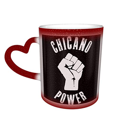 Red Chicano Power-Viva La Raza Heat Sensitive Coffee Magic Mugs Color Cute Coffee Tea Unique Changing Heat Cup