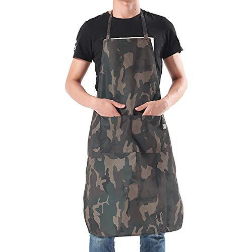 LISSOMPLUME Tablier De cuisine à Oxford imperméable anti-huile anti-tache Tablier De Travaux Barbecue 97 * 69cm(homme)