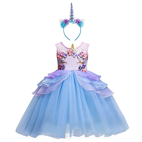 Costume da Principessa Unicorno per Bimba con Vestito Lungo Compleanno Ballerina Abiti Bambini Carnevale Halloween Cosplay Abito A Blu (2PCS) 9-10 Anni