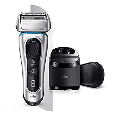 Braun Series 8 8391cc Next Generation, Electric Shaver, Clean and Charge Station, Leather Case, Silver by Procter & Gamble