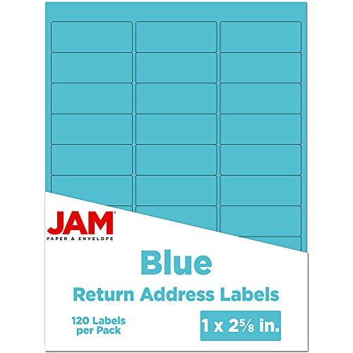 JAM PAPER Return Address Labels - Standard Mailing - 1 x 2 5/8 - Blue - 120 Shipping Labels/Pack