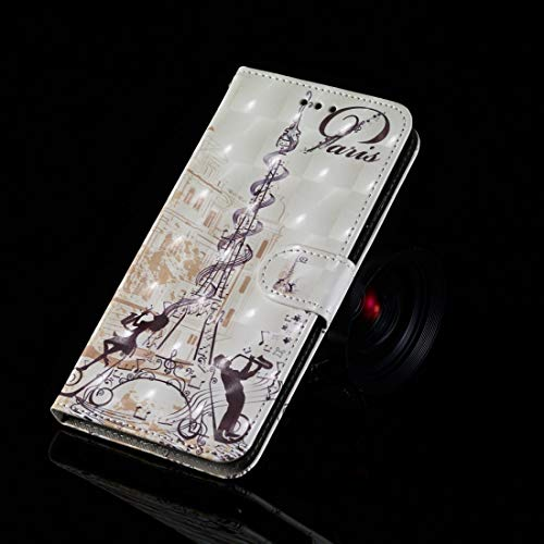 KIOKIOIPO-N Art und Weise 3D Malerei Muster kolorierte Zeichnung Horizontal Flip PU-Leder-Kasten mit Halter & Card Slots & Wallet for iPhone XS Max (Pattern : Couple of Eiffel Tower)