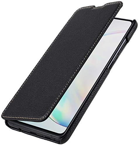 StilGut Book Hülle kompatibel mit Samsung Galaxy Note 10 Lite Hülle aus Leder zum Klappen, Klapphülle, Handyhülle, Lederhülle, dünn - Schwarz