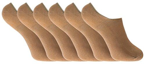 6 paar damen bambus unsichtbar anti schweiß sneaker socken/füßlinge mit silikonferse (37-41 eur, BNSTL Beige)