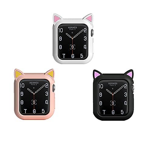 para Apple Watch Serie iwatch 6 / SE / 5/4/3/2/1 Caso Cubrir Linda Sexy Personalidad Gato Oído Líquido Sílice Gel Suave Protector Manga Silicona Protector Cáscara (3Piezas, 42 / 44mm)