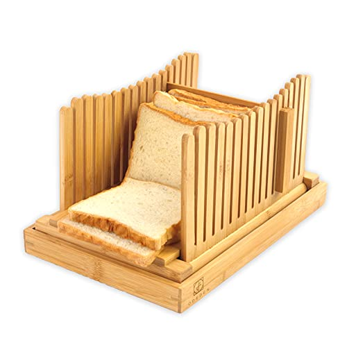 Attractive Bamboo Bread Slicers for Homemade Bread Loaf,Adjustable Bread Slicing Guide with 3 Different Thickness, Fodable & Compact with Crumb Tray for Bread, Cakes and Bagels. (Large, Oringnal)
