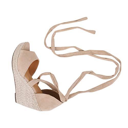 Huiyuzhi Womens Lace Up Wedge Espadrille Sandals Peep Toe Criss Cross D'Orsay Dress Sandals Nude