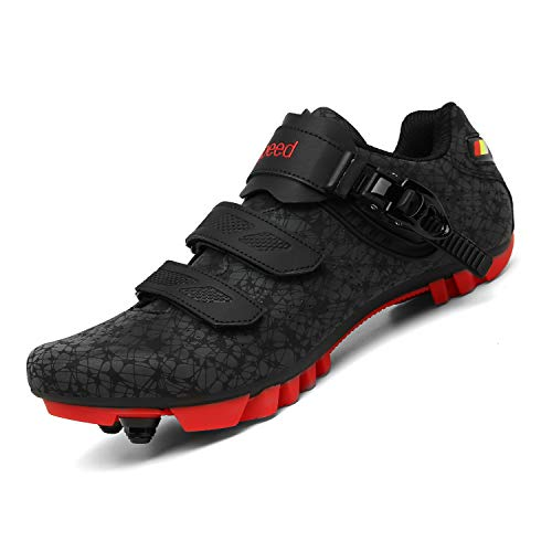 Men Mountain Cycling Shoes Premium Professional MTB Shoes Breathable Outdoor Cycle Shoes for Men Women SPD Mountain Bike Shoes with Cleats Black/Red