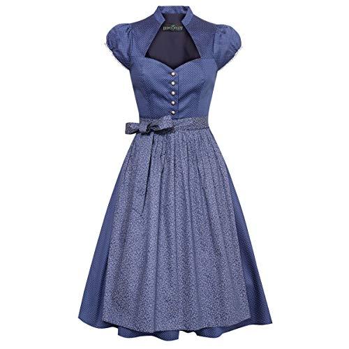 Berwin und Wolff Damen Trachten-Mode Midi Dirndl Annamirl in Blau traditionell, Größe:42, Farbe:Blau