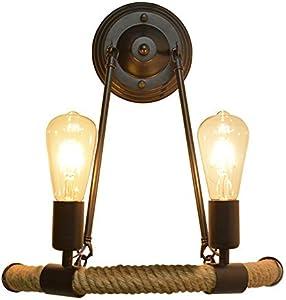 VOMI Industrial Interior Vintage Apliques De Pared, Cuerda Cáñamo 2 Llamas Lámpara De Pared, Personalidad Creativa Retro Luz Pared, Semicírculo Hierro Negro Edison Linterna De Pared E27