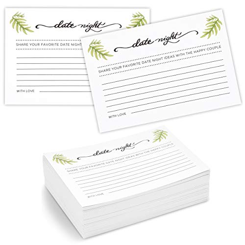 Date Night Idea Cards for Bridal Shower and Wedding (4 x 6 Inches, 100-Pack)