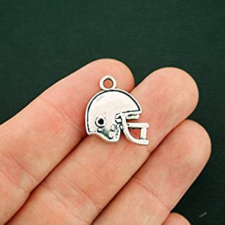 Great Selection 4 Football Helmet Charms Antique Silver Tone 2 Sided - SC1878 Build Your Designs
