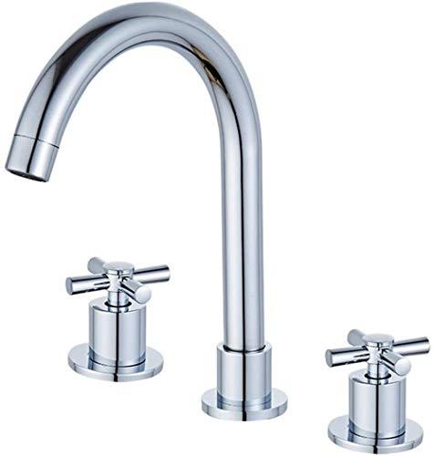 Grifo de lavabo grifo de baño 3 orificios 3 partes Grifo de agua fría y caliente de 2 polos grifo de baño grifo de lavabo