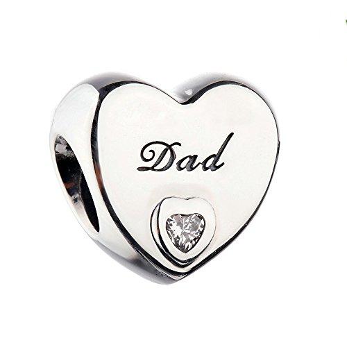 COOLTASTE, accessorio con scritta Dad e cuore, charm in argento sterling adatto per bracciali originali Pandora.