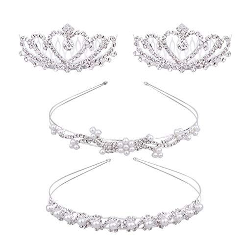 Minkissy - 4 piezas de perlas de diamante, cinta para la frente,...