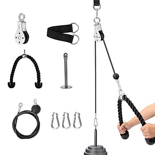 Elikliv Sistema di puleggia per Fitness, Regolabile, 1,8 m, tricipiti, avambraccio, Braccio, Corda...