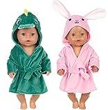 ebuddy Grüner Dinosaurier und rosa Kaninchenpuppe Nachtgewand Kleider einstellen für 43cm / 17 Zoll Neugeborene Babypuppen (Keine Puppe)