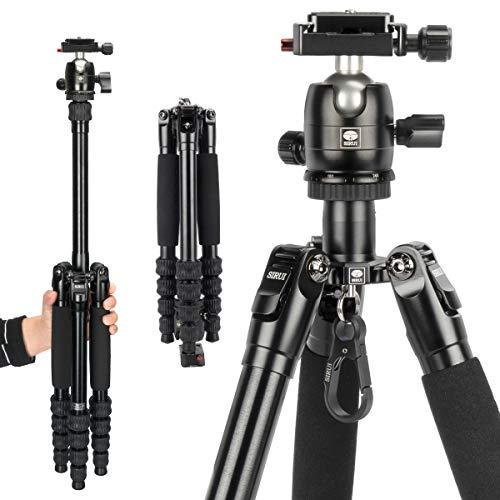 SIRUI Kompaktes Traveler 5AX Stativ 132 cm leichtes Aluminium Reisestativ Tragbares Kamerastativ mit 360° Panorama-Kugelkopf und Arca Swiss Schnellwechselplatte Tragfähigkeit bis zu 5 kg