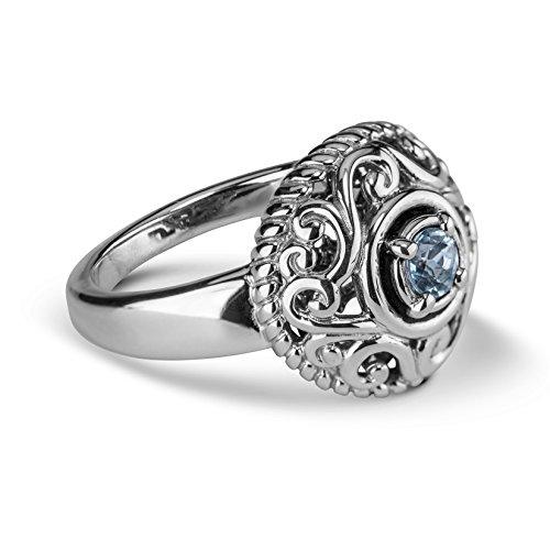 Carolyn Pollack Sterling Silver Blue Aquamarine Gemstone March Birthstone Ring Size 7