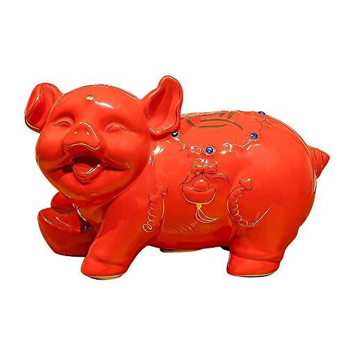ZAKRLYB Cerc Piggy Bank Desktop Storage Savings Ceramic Piggy Lucky Coin Bandería Biblioteca para Adultos, niños domésticos, Gran Capacidad Adecuada para escritorios, Salas de Estar, gabinetes de TV