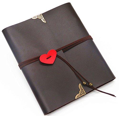 Smiling Art Fotoalbum zum selbst gestalten basteln, zum einkleben, DIY Scrapbook, Deckblatt aus Kunsteder mit Herz als als Geschenk für Hochzeit (Braun, Medium)