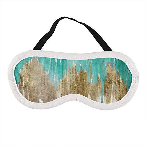 Opulentie Turkoois Aqua Drippy Ikat Slaap Oog Masker Slaap Maskers Blinddoek Katoen Oog Kussen Zacht voor Vrouwen Mannen Reizen Naps Gepersonaliseerd
