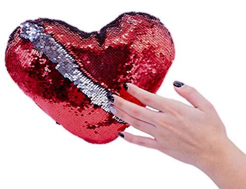 ML cojin Peluche de Lentejuelas de Formas de Corazon Color Rojo 30cm de Ancho para Decorar tu habitación Cama Sofa Regalo para el Dia de la Madre