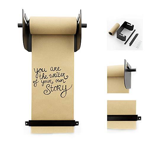 LEDR® Kraftpapier Roller 20 x 15 cm Schwarz Wanddekoration - Inklusive Montagematerial und Papier Rolle (20 m) - Rostfreier Stahl Wand Halter - Größe M - Papierrollenhalter - Kraftpapierrollenhalter