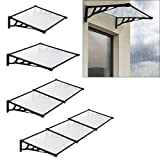 The Fellie Rain Canopy Door Canopy Awning Straight Front Door Canopy for Outdoor Window Porch Shade Patio Roof Cover UV Protection, (Black/L120xW90xH28cm)