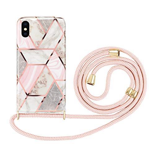 Imikoko Handykette Hülle für iPhone XS MAX Marmor Glitzer Necklace(abnehmbar) Hülle mit Kordel zum Umhängen Silikon Handy Schutzhülle mit Band - Schnur mit Hülle zum umhängen