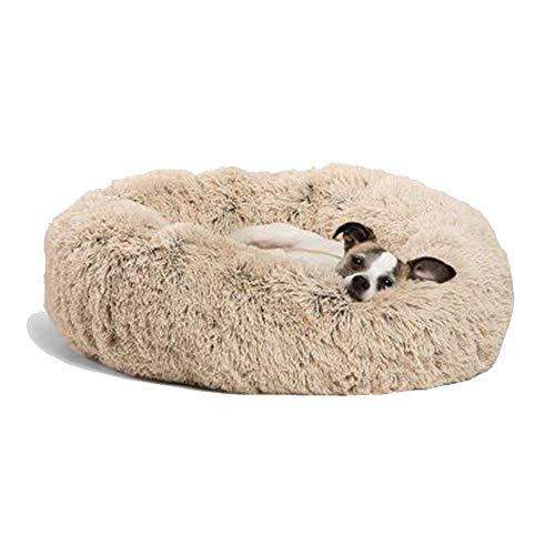Premium Hundebett Waschbar Hundekorb Robust Stabiler Rand Hundmatratze Orthopädisches Hölenbett Donut Beruhigendes Katzenkissen für Kleine/Mittlere/Große/Übergroße Hunde Katzen, 80cm