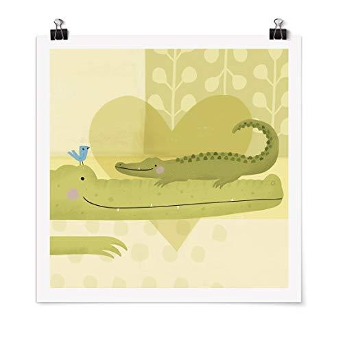 Bilderwelten Poster - Mum and I - Crocodiles Carré Fini satiné Autocollant 50 x 50cm