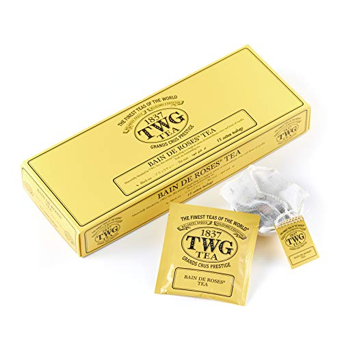 TWG Tea | Bain De Roses Tea, blend de té negro de Darjeeling en 15 bolsitas de algodón cosidas a mano en caja de regalo de 37,5g