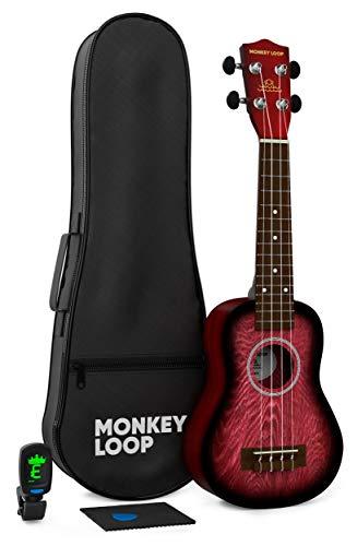 Monkey Loop - Serie Jungle Pack - Ukelele Soprano - Incluye: Funda, Afinador, Púa y Gamuza Limpiadora - Color Rojo - Óptimo para Principiantes - Cuerdas Aquila - Materiales Resistentes - Alta Calidad