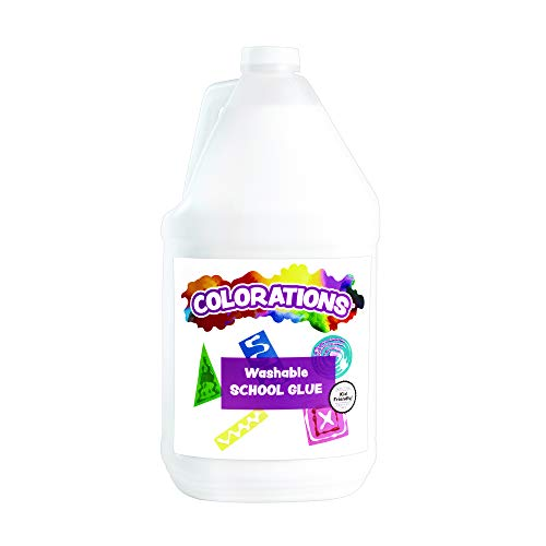 Colorations Washable White Liquid Glue, 1 Gallon, Slime, Gluing, Arts & Crafts, School Suplies, Art Supplies, Classroom Supplies, Projects, General Purpose Glue, Non Toxic Glue, Kids Glue