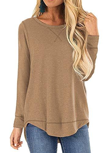 LANREMON Women's Tops Long Sleeve Fall T-Shirts Casual Loose Crew Neck Side Split Tunic Top Khaki L