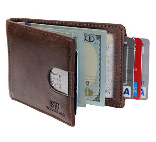 SERMAN BRANDS RFID Blocking Slim Bifold Genuine Leather Minimalist Front Pocket Wallets for Men with Money Clip (Texas Brown 1.0)
