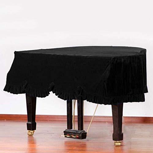 Grand Piano Cover, Classic Premium Samt Möbel Staubschutz Handgemachte Plissee Trim Standard-Klavier-Abdeckung Hauptdekoration, (Verschiedene Größen) ( Color : Black , Size : 190cm+Single Stool )
