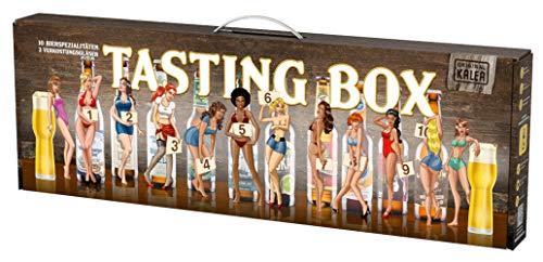 Beer Tasting Box | Geschenk-Idee | Papa | Männer | Bier-Spezialitäten von Privatbrauereien | mit Henkel | Geburtstag (Pin Up 10x0,33l + 2 Gläser)