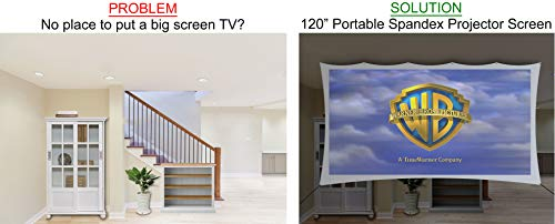 120� inch Portable Spandex Projector Screen. Complete Kit Includes 5�x9� Stretch Fabric Material & Hardware for Indoor or Outdoor Back Yard Movie Screen use. 3D DLP Ready with Both Front & Rear Projection Capability (unlike Blackout Cloth) Photo #4