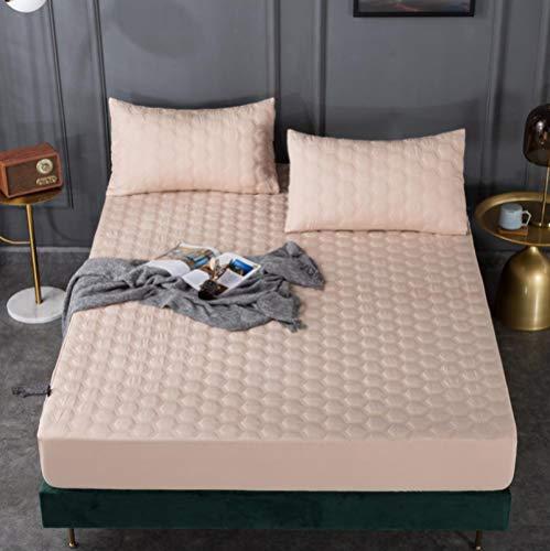 XLMHZP Protector de colchón Impermeable Acolchado en Relieve de Color sólido Blanco Funda de Estilo de sábana Ajustable para colchón Almohadilla Suave y Gruesa para Cama-G_180x200+30cm
