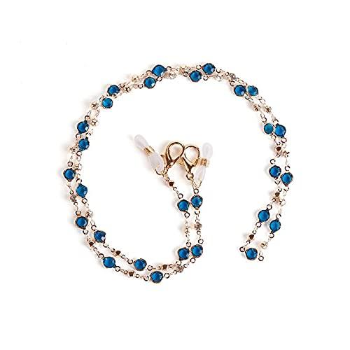 YMKT Cordón de cadena para gafas, desmontable y elegante cristal elegante cadena de gafas de sol de lectura, cadena de retención, antideslizante y anti-pérdida de protección facial accesorios, azul, M
