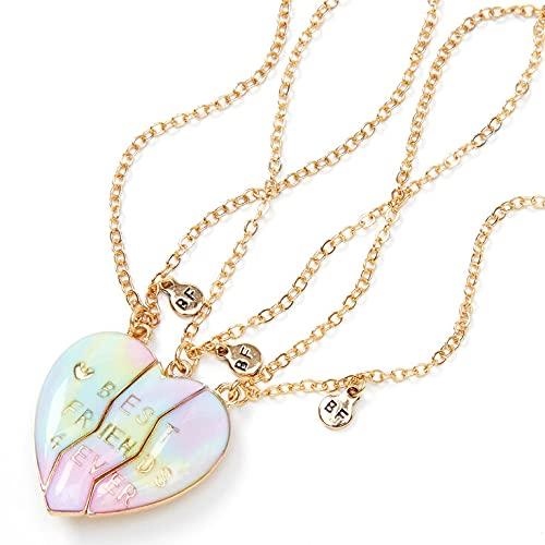 Claire's Matching Pastel Ombre Heart Pendant Best Friends Necklaces, Gold...