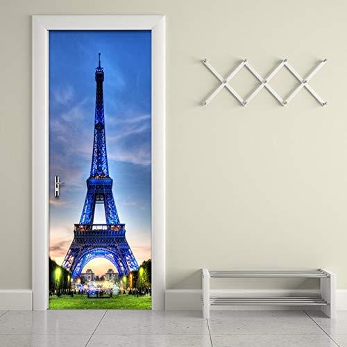 3D Estéreo Cielo Azul Torre De Hierro Pegatina De Pared DIY Mural PVC Puerta Impermeable Papel Tapiz Cartel Decoración del Hogar 3D Puerta Pegatina Papel De Pared