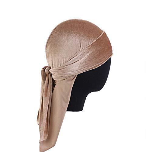 Nvshiyk Turbante para Mujer 5PCS Ladies Terciopelo Tercer Long Pirate Sombrero Pirate Largo Streamer Hat Baotou Hat Envoltura retorcida (Color : Camel, Size : One Size)