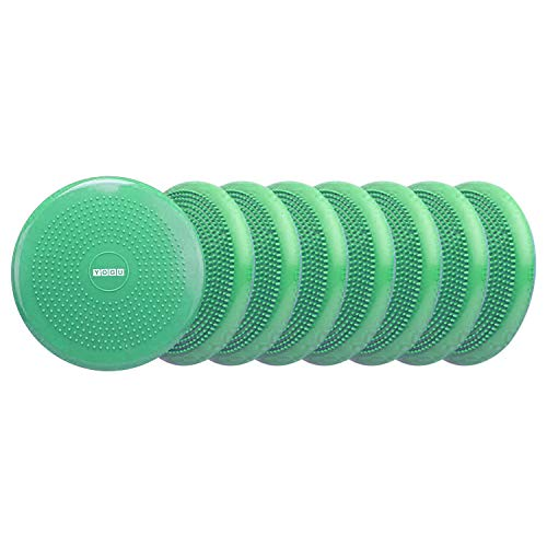 YOGU Inflated Air Stability Wobble Cushion w Air Pump Anti-Burst Wiggle Seat Inflatable Exercise Fitness Core Balance Disc for Better Seating Therapy Sensory Cushion for School Chair (Green 8 Pack)