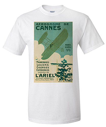 Aerodrome de Cannes Vintage Poster (artist: Hermann Paul) France c. 1909 (Premium T-Shirt)